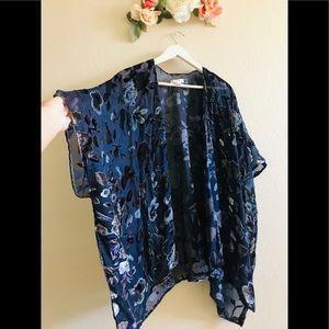 Woven Heart- Navy Velvet Mesh Kimono